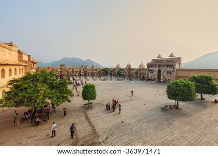 View of Amber fort, Jaipur, India - stock photo