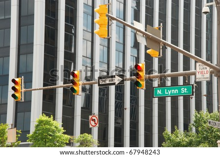 View of american business street with traffic lights - stock photo