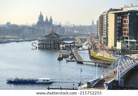 View of Amsterdam, Netherlands. View from Nemo museum - stock photo