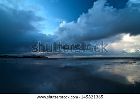 view of an abandoned beachscape, Blackpool - stock photo