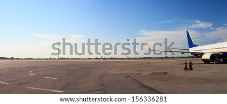 View of an airplane in the airport - stock photo