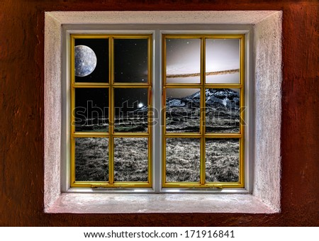 View of an alien landscape with supernova through a window - Elements of this image furnished by NASA