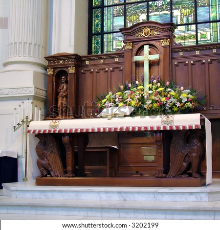 View of an altar at a church in the U. S. Naval Academy - stock photo