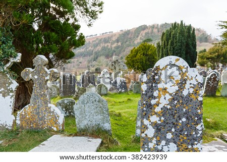 View of an ancient graveyard  in Ireland - stock photo