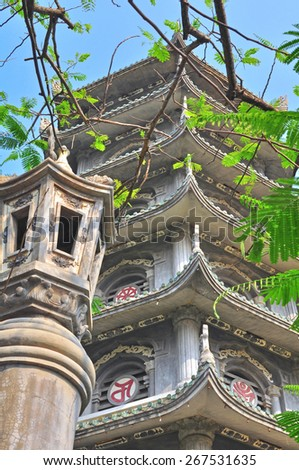 View of an ancient temple in the Marble hills located near Da Nang city, central Vietnam - stock photo