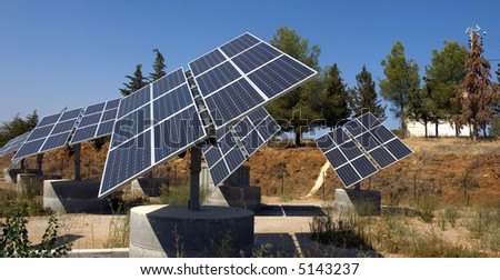 View of an array of solar panels. - stock photo