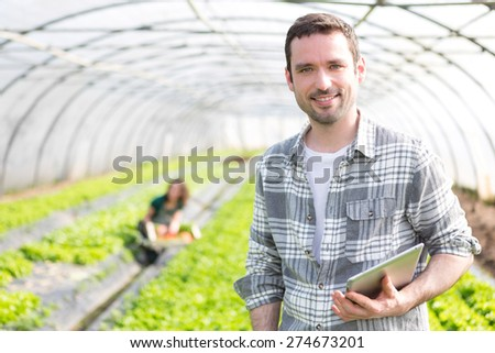 View of an attractive farmer in a greenhouse using tablet - stock photo