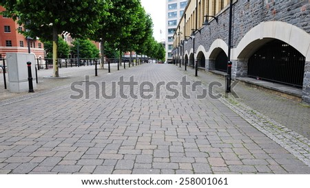 View of an Empty City Street - stock photo