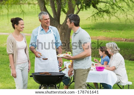 View of an extended family with barbecue in the park - stock photo