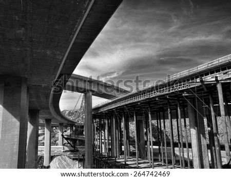 View of an freeway under construction in Los Angeles, California. - stock photo