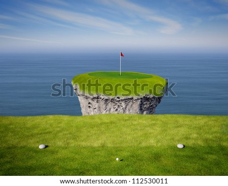 View of an impossible golf link viewed from the tee box. - stock photo