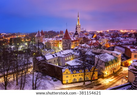View of an old city in Tallinn. Estonia - stock photo