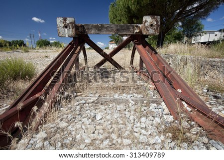 View of an old railroad end bumper. Railroad end bumper.  - stock photo