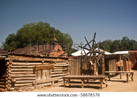View of an old Spanish colonial village at Rancho de las Golondrinas, a living history museum at Santa Fe, New Mexico - stock photo