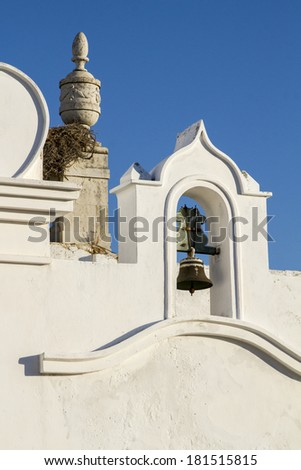 View of an old  town historical church, located in Faro, Portugal. - stock photo