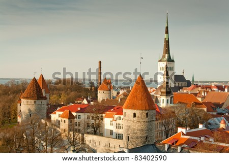 View of an old town in Tallinn at Spring