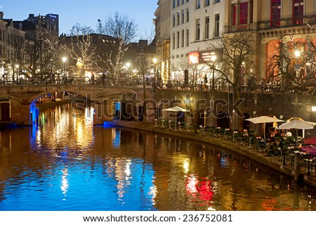 View of an Old Town of Utrecht in the evening. Holland - stock photo