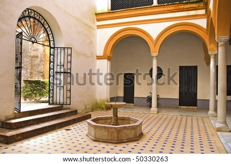 view of an typical andalusian patio in Spain - stock photo