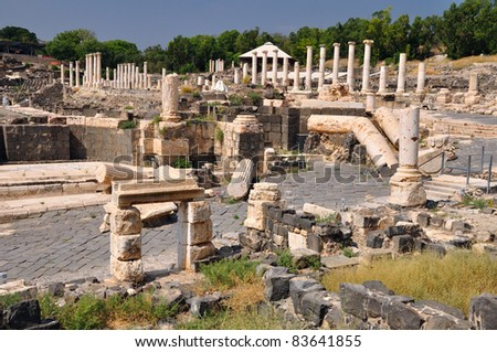 View of ancient Beit Shean city. Israel. - stock photo