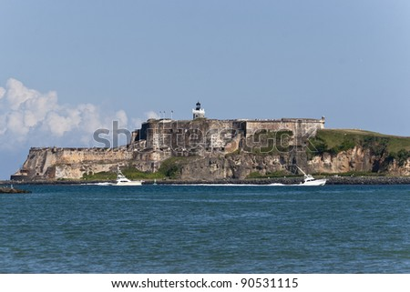 View of ancient coastal fort - stock photo