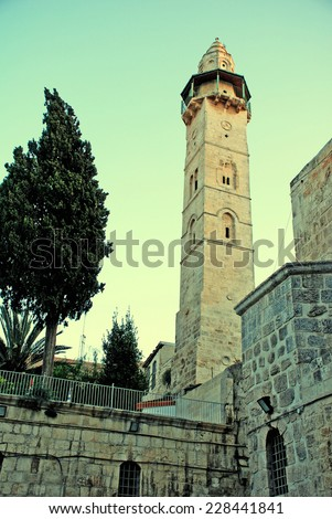 view of ancient David's Tower in Jerusalem, Israel in the evening. toned image, instagram effect - stock photo