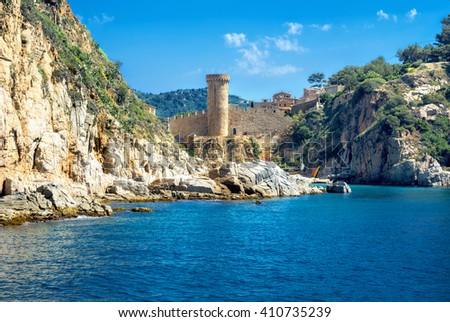 View of ancient fortress in Tossa de mar. Costa Brava, Spain - stock photo