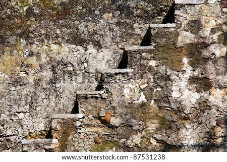 View of anicent stone stairway in castle - stock photo