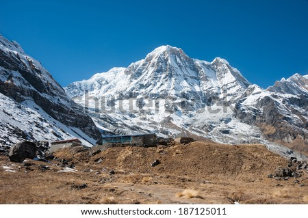 View of Annapurna Base Camp, with Annapurna South in background, Nepal