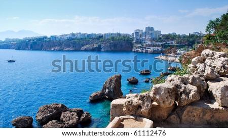 view of Antalia harbor, Turkey - stock photo