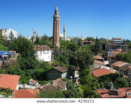 View of Antalya old town - stock photo