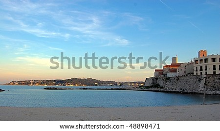 View of Antibes and Picasso Museum, France - stock photo