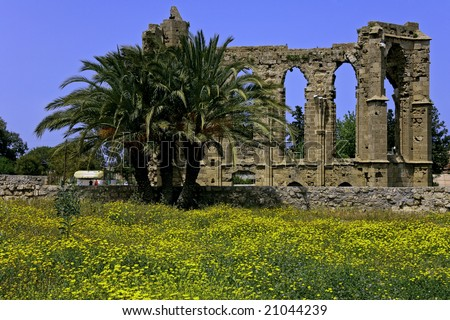 view of antique wall with spring flowers and palm at Famagusta Famagusta, Girne, North Cyprus Famagusta - stock photo