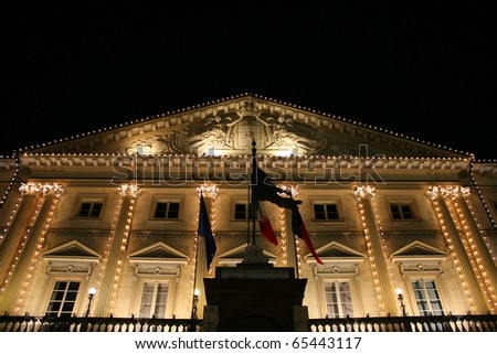 View of Aosta City Hall decorated for christmas(Aosta, Valle D'Aosta, Italy) - stock photo