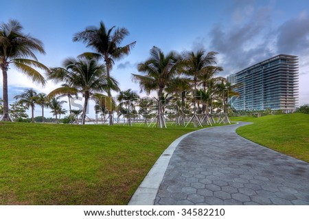 View of apartment condos in South Pointe Park, Miami Beach. - stock photo