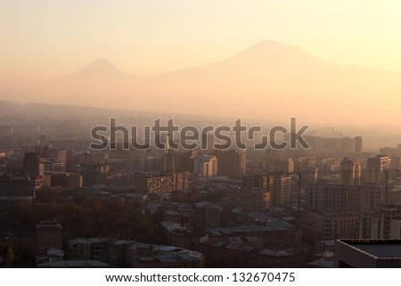 View of Ararat mount and Yerevan in the morning, Armenia