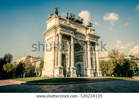 view of Arch of Peace Sempione Park Milan city
