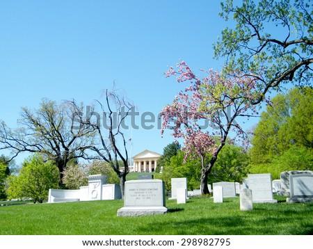 View of Arlington National Cemetery springtime in Arlington Virginia, USA - stock photo