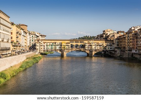 view of Arno river and Ponte Vecchio in Florence, Italy - stock photo