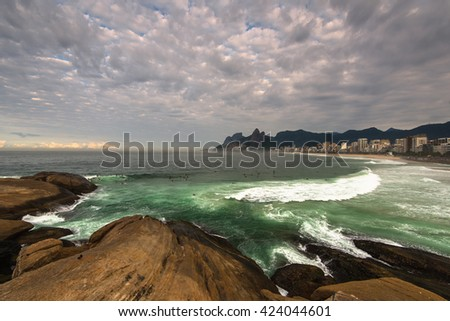 View of Arpoador Beach Rocks and Dramatic Sky Above Rio de Janeiro