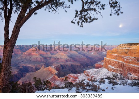 View of at Grand Canyon in winter after sunset, Arizona. - stock photo