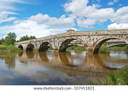 view of Atcham Bridge crossing the River Severn, Shropshire, UK - stock photo