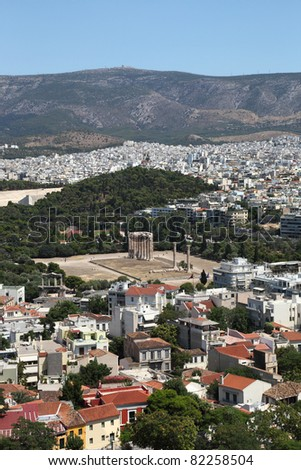 View of athens ancient archeology and modern architecture (Greece)