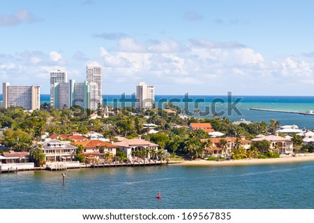 View of Atlantic intracoastal waterway and ocean at beach Florida, Fort Lauderdale - stock photo