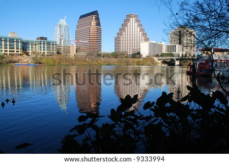 view of Austin, Texas downtown skyline reflected on the beautiful Lady Bird Lake riverboat seen between the branches - stock photo