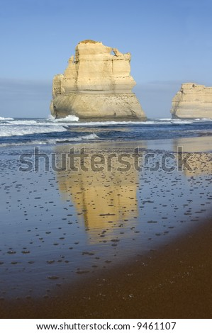 View of Australia's natural wonder, The Twelve Apostles, as seen from the beach.