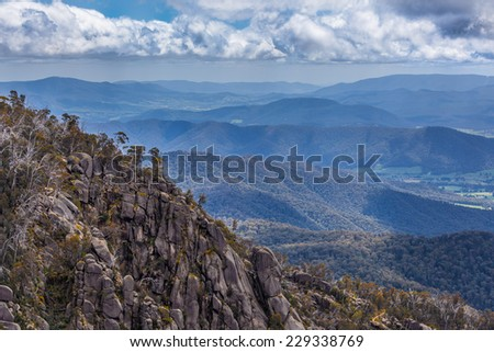 View of Australian Alps from Mt Buffalo  National Park, The Gorge lookout. - stock photo