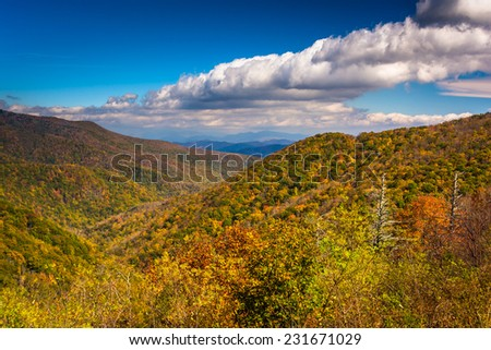 View of autumn color in the Appalachian Mountains from the Blue Ridge Parkway north of Asheville, North Carolina. - stock photo