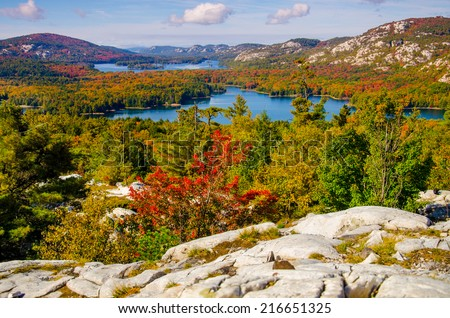 "View of Autumn from ""the Crack"" in beautiful Killarney Provincial Park, Ontario - stock photo"