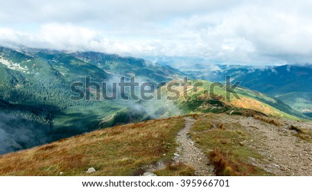 View of autumn nature in Tatra Mountains in Slovakia - stock photo
