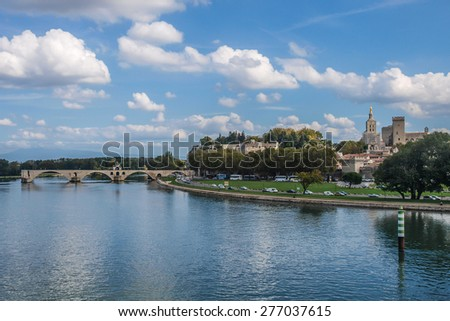 View of Avignon from the bridge/View of Avignon from the bridge/View of Avignon, France from the bridge over the Rhone.